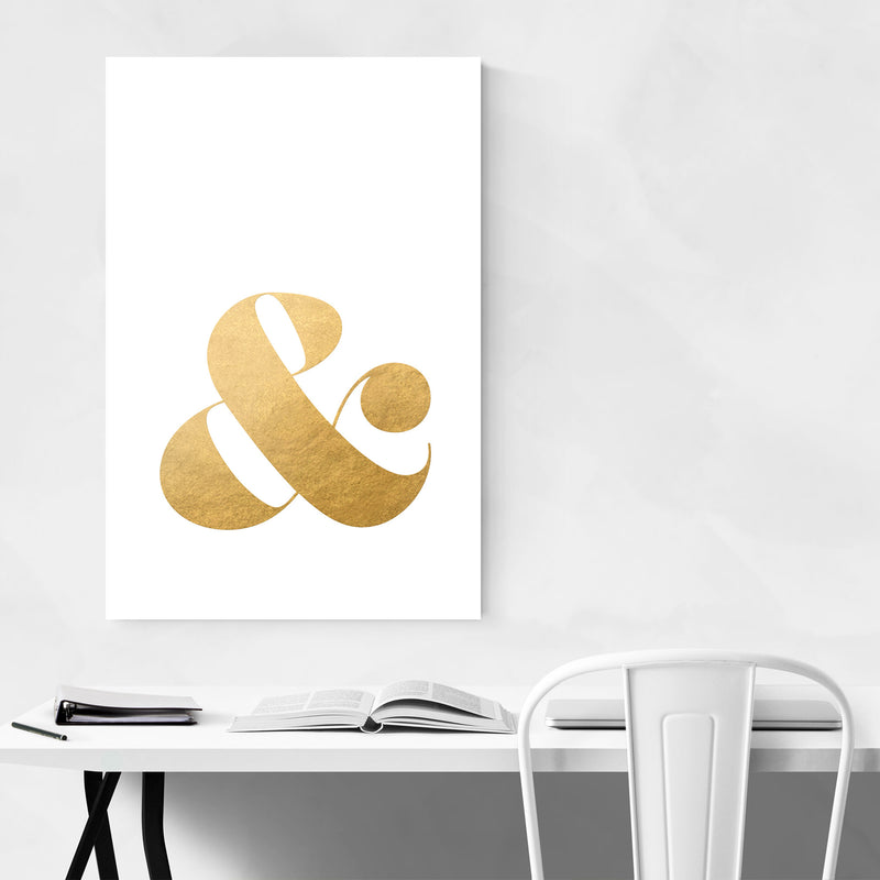 Gold Ampersand Typography Metal Art Print