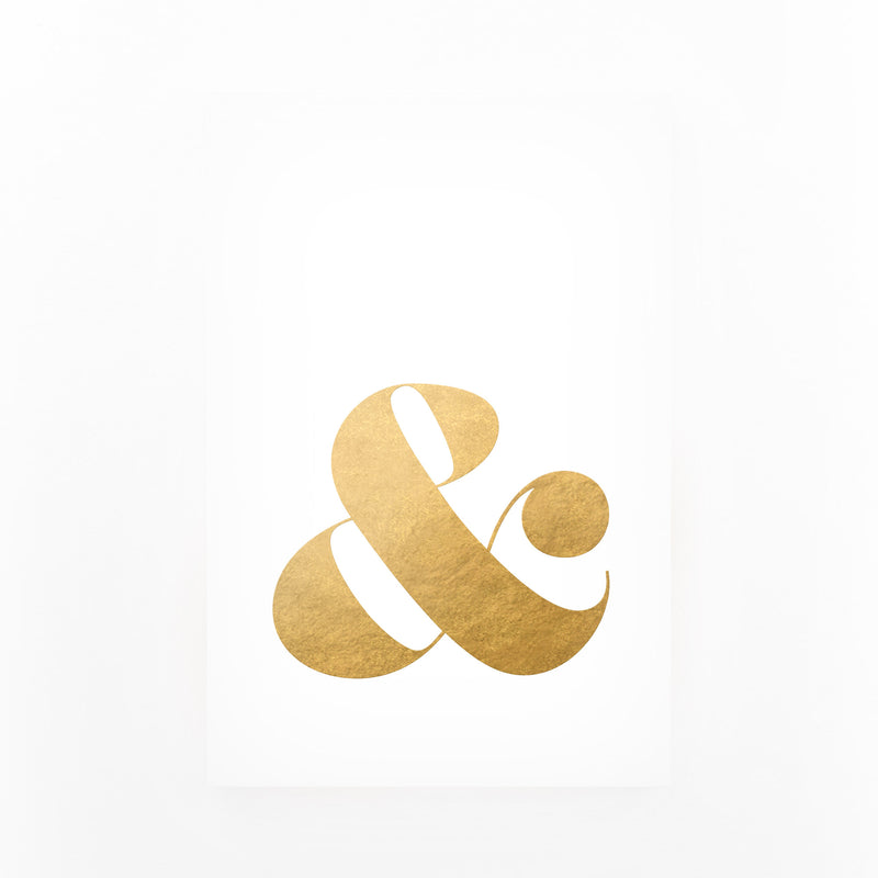 Gold Ampersand Typography Canvas Art Print