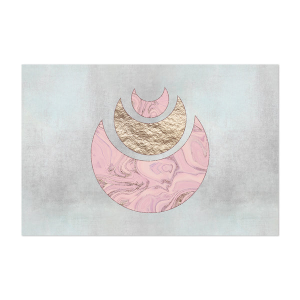 Abstract Half Moon Gold Pink Art Print