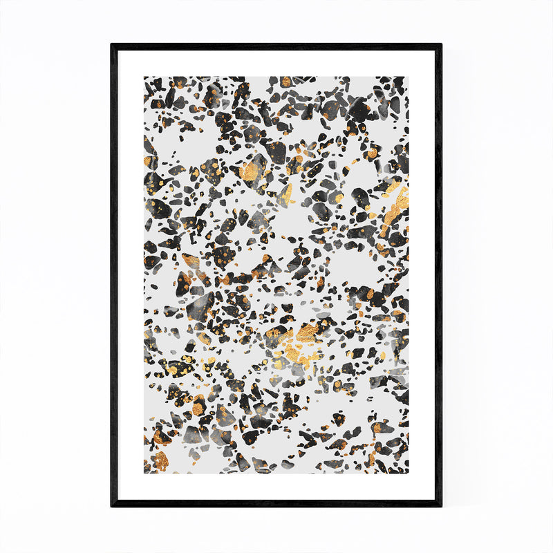 Art Deco Gold Abstract Digital Framed Art Print