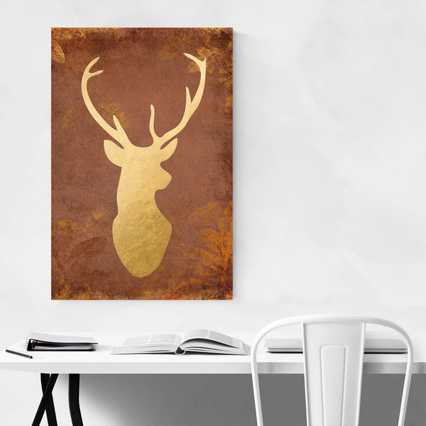 Rustic Gold Deer Buck Animal  Art Print
