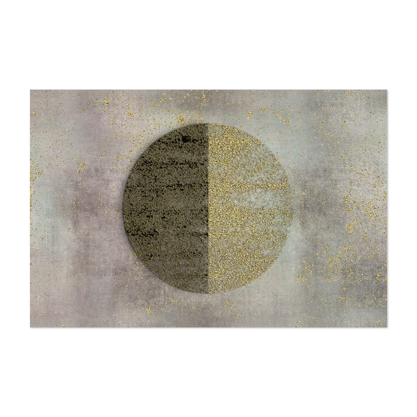 Abstract Circle Shape Gold Black Art Print