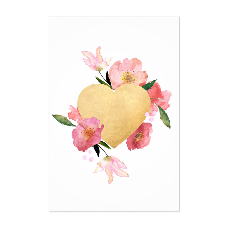 Gold Floral Heart Love Wedding Art Print