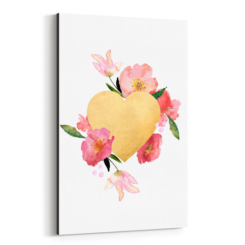 Gold Floral Heart Love Wedding Canvas Art Print