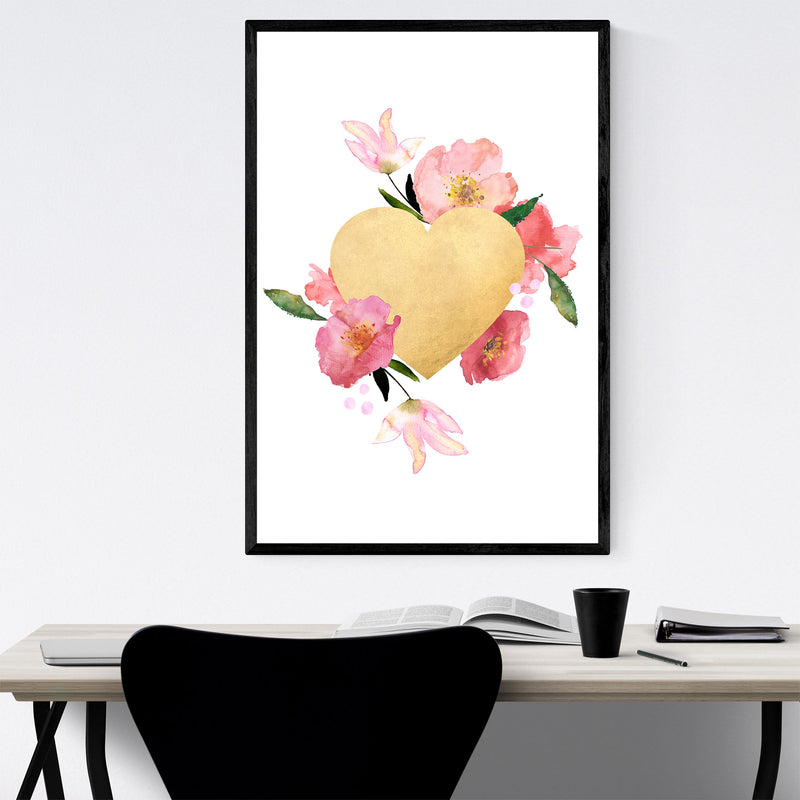Gold Floral Heart Love Wedding Framed Art Print