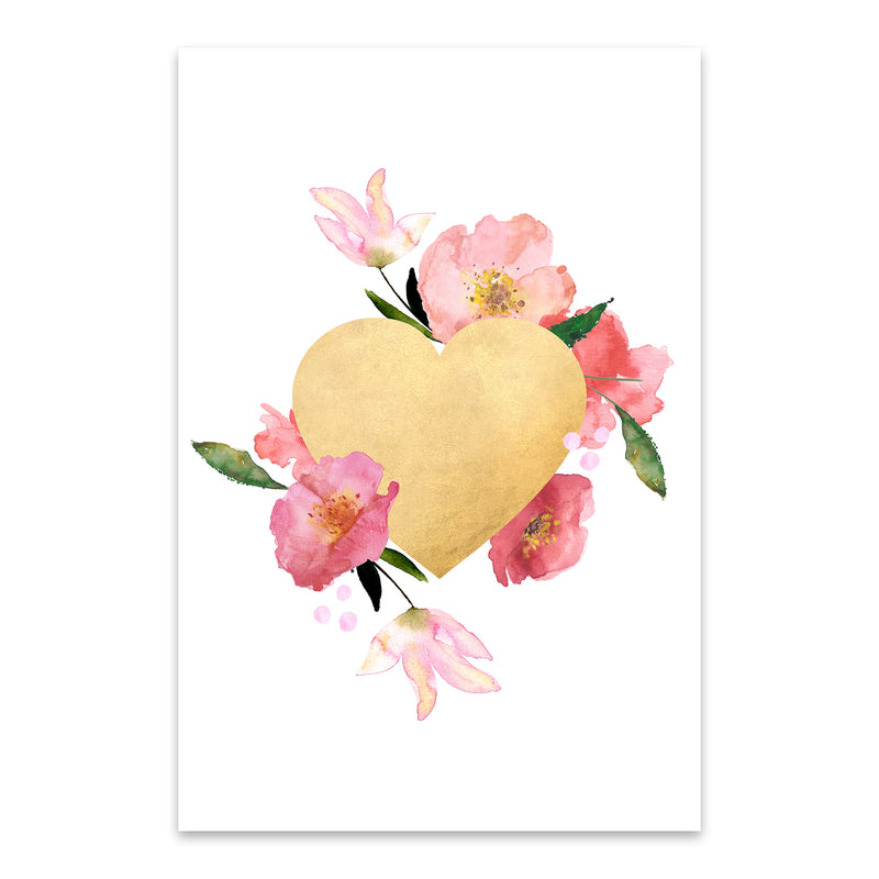 Gold Floral Heart Love Wedding Metal Art Print