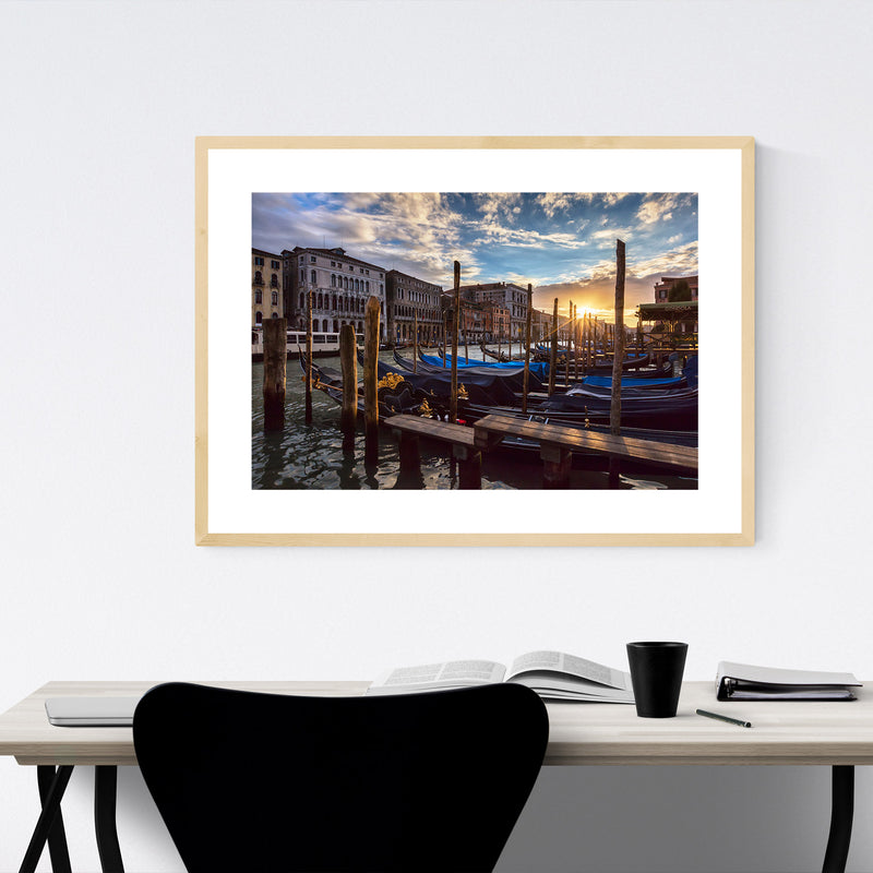 Grand Canal Rialto Bridge Venice Framed Art Print