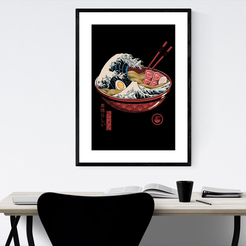 Ramen Wave Japanese Culture Framed Art Print