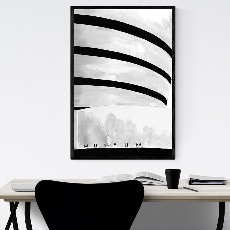 NYC Guggenheim Museum Watercolor Framed Art Print