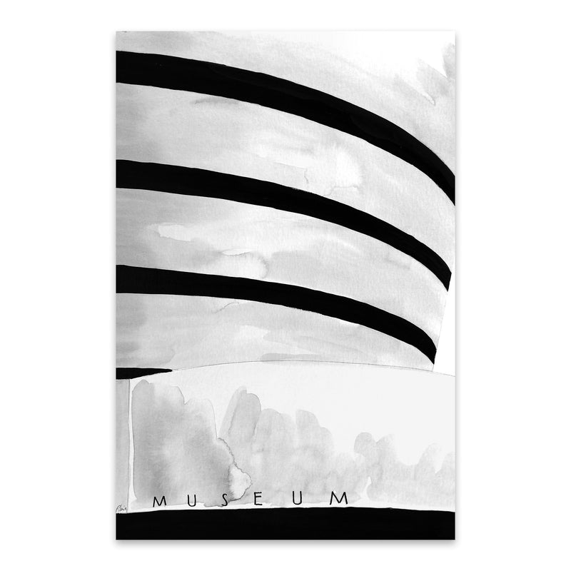NYC Guggenheim Museum Watercolor Metal Art Print
