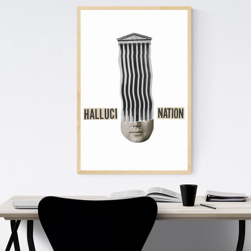 Halucination Typography Collage Framed Art Print