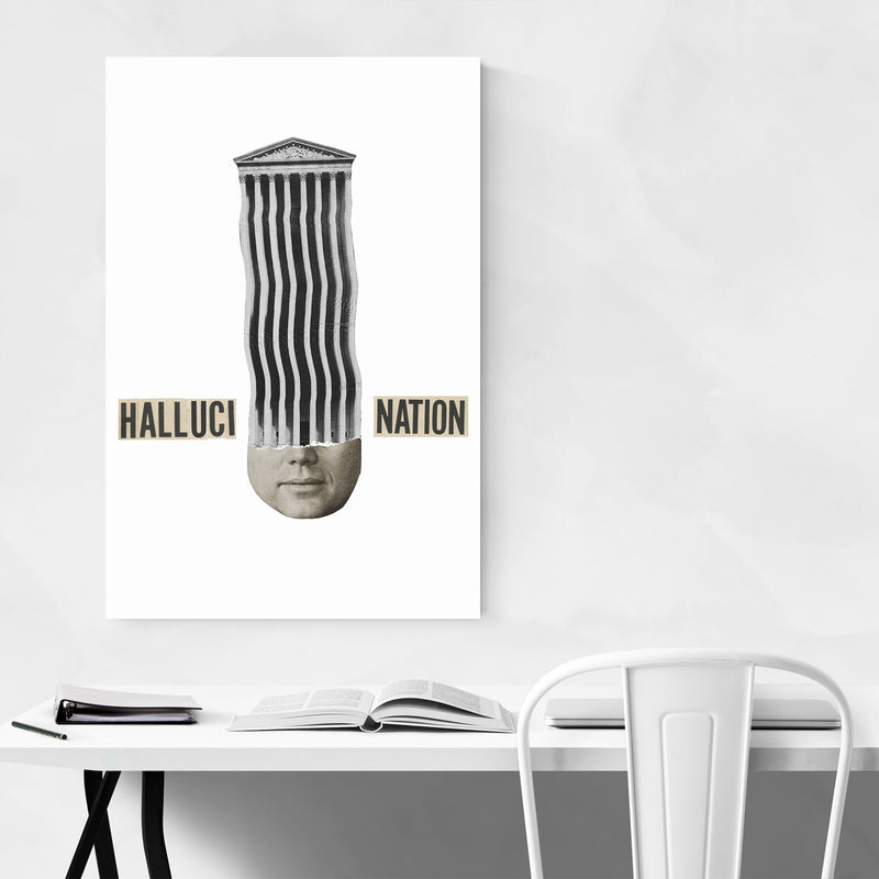 Halucination Typography Collage Art Print