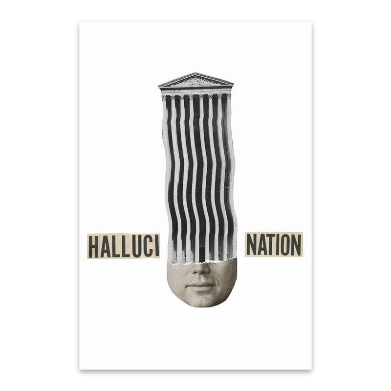 Halucination Typography Collage Metal Art Print