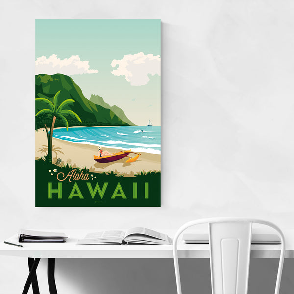 Vintage Hawaii Travel Print Art Print