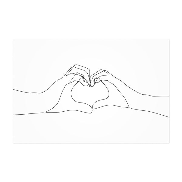 Minimal Hand Heart Line Drawing Art Print