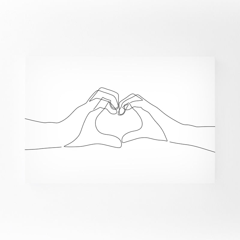 Minimal Hand Heart Line Drawing Canvas Art Print