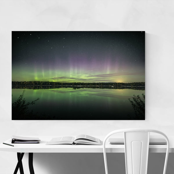 Northern Lights Lake Finland Art Print