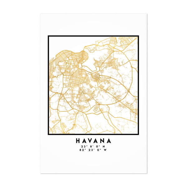 Minimal Havana City Map Art Print