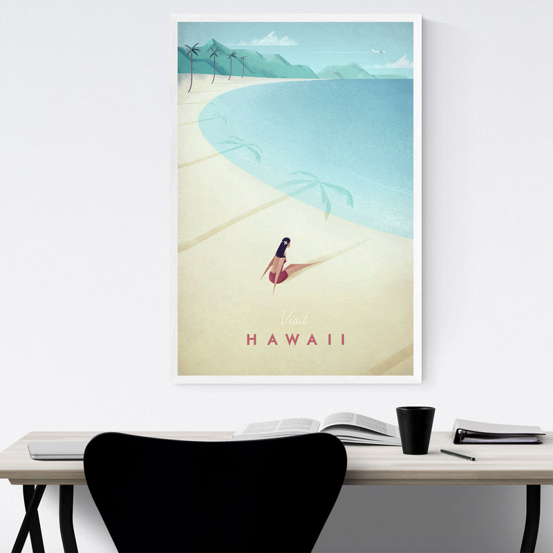 Minimal Travel Poster Hawaii Framed Art Print