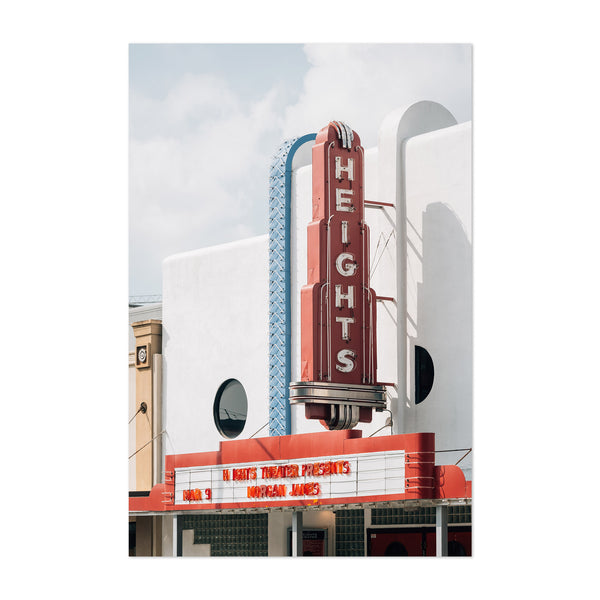 Houston Texas Heights Theater Art Print