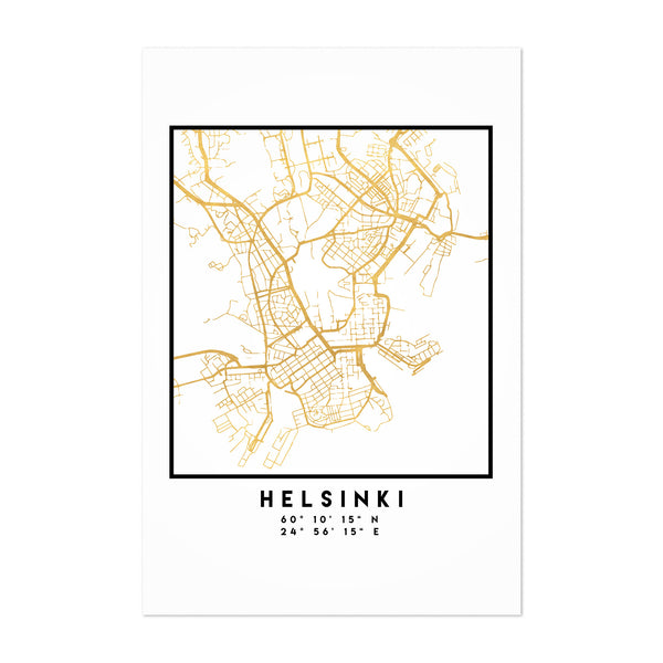 Minimal Helsinki City Map Art Print