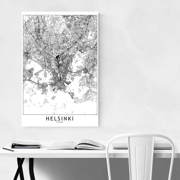 Helsinki Black & White City Map Art Print