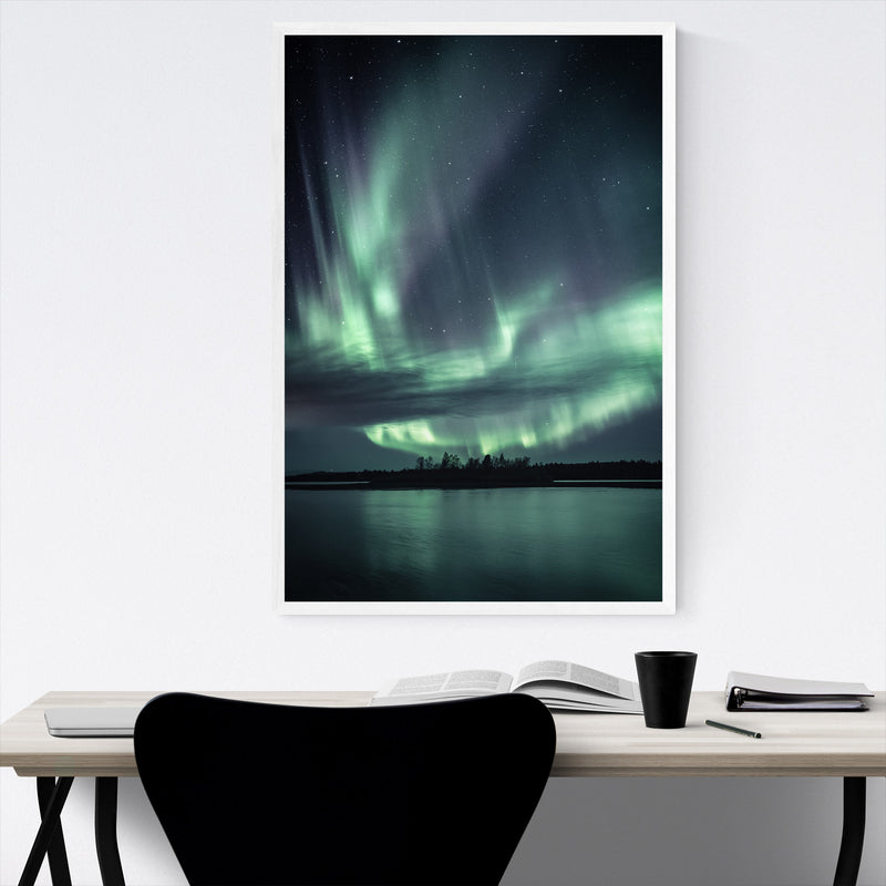 Northern Lights Lapland Finland Framed Art Print