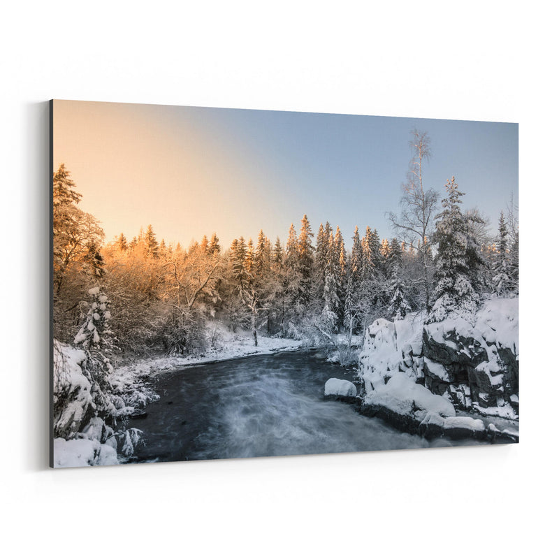 Winter River Landscape Finland Canvas Art Print