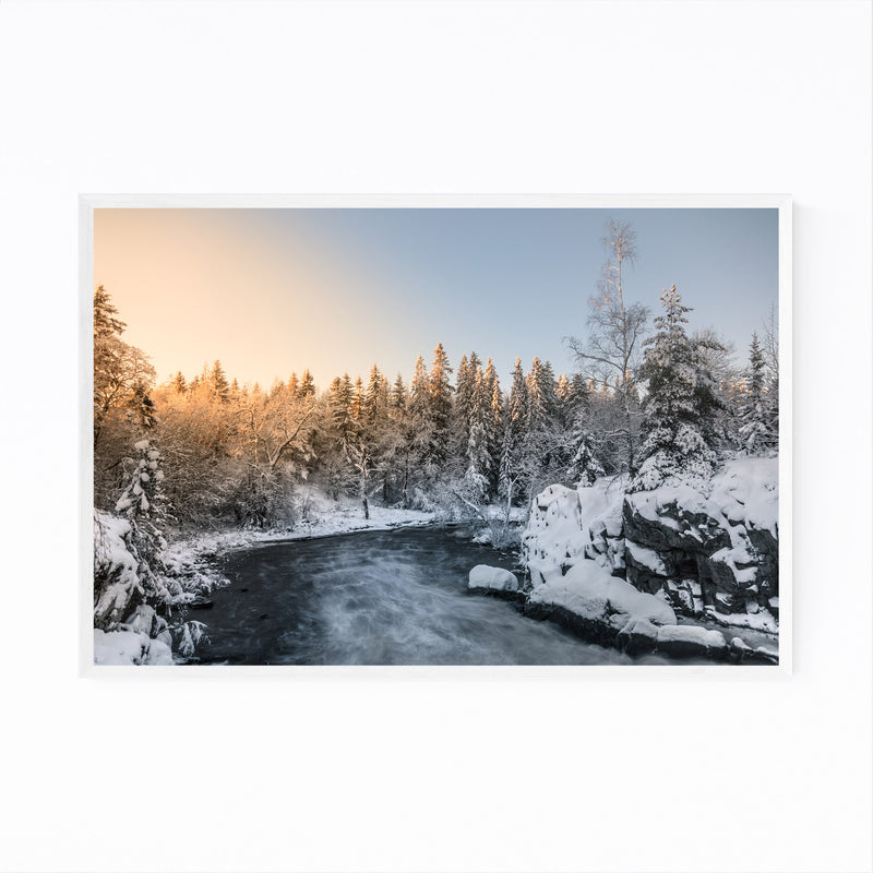 Winter River Landscape Finland Framed Art Print