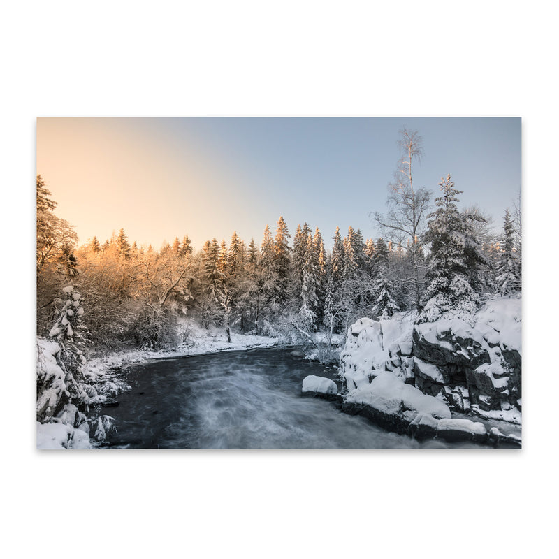 Winter River Landscape Finland Metal Art Print