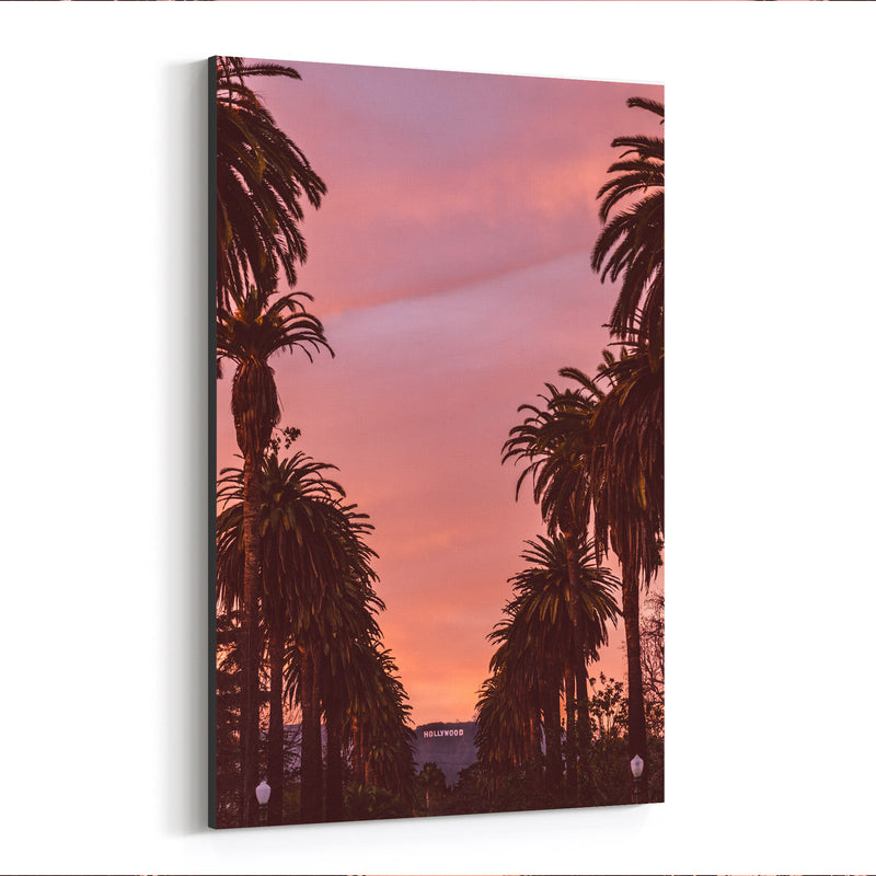Hollywood Sign Sunset Palm Trees Canvas Art Print