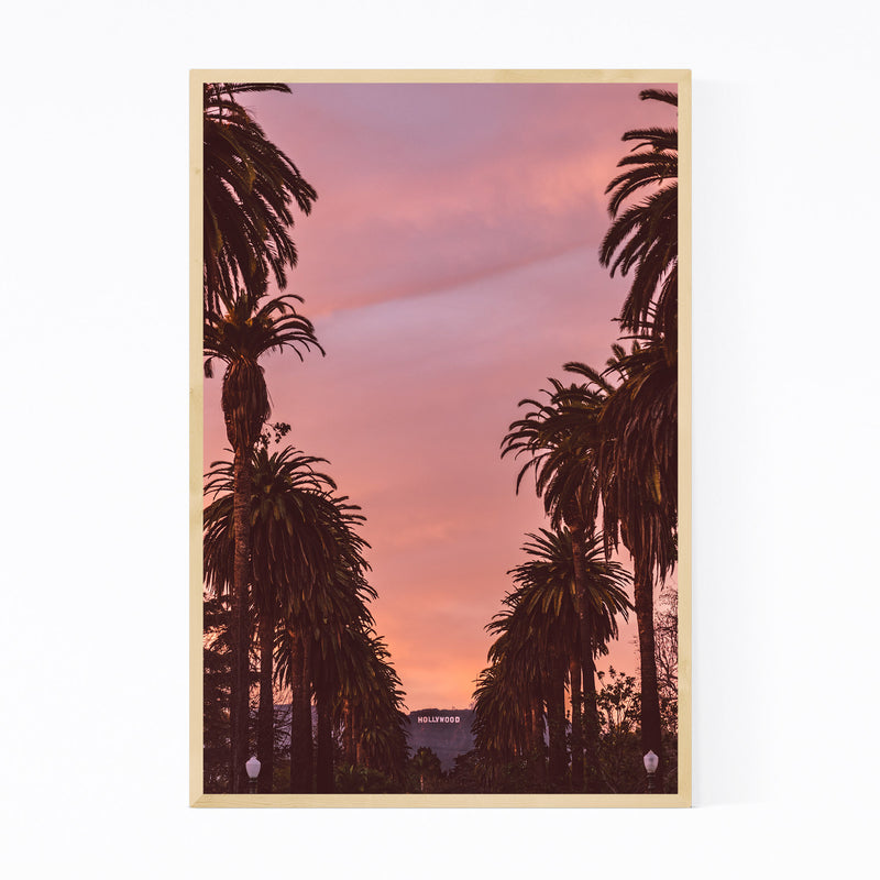 Hollywood Sign Sunset Palm Trees Framed Art Print