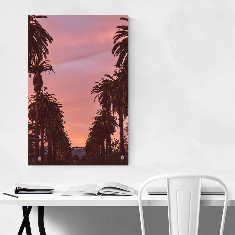 Hollywood Sign Sunset Palm Trees Metal Art Print