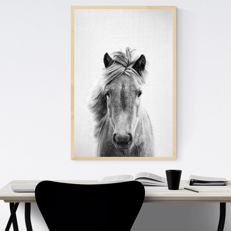Horse Nursery Peeking Animal Framed Art Print