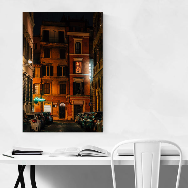 Rome Italy Hotel Neon Sign Art Print