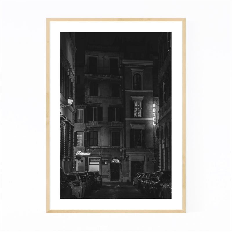 Black & White Rome Italy Urban Framed Art Print