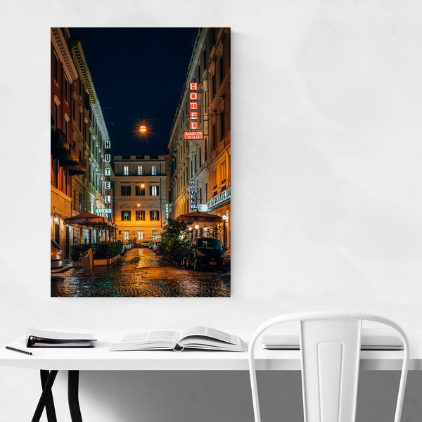 Rome Italy Hotels Neon Signs Art Print