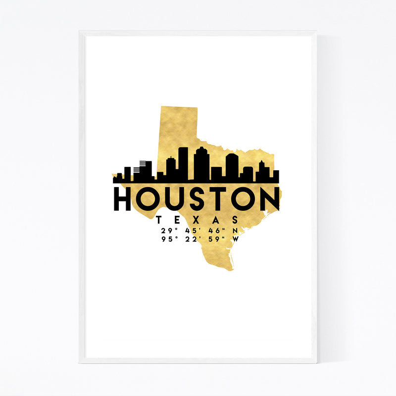 Minimal Houston Skyline Framed Art Print