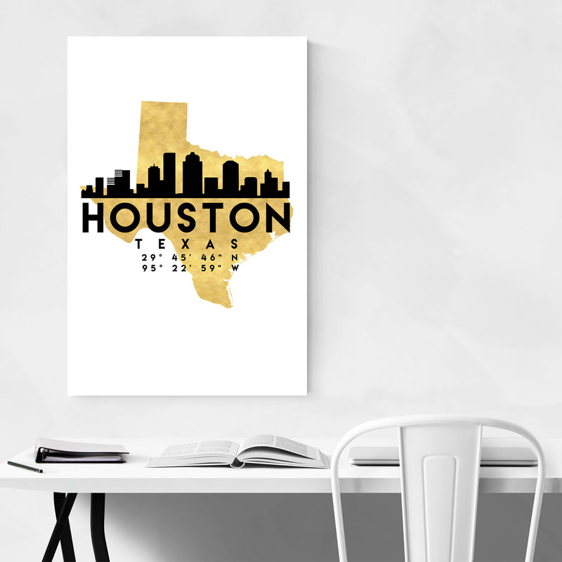 Minimal Houston Skyline Metal Art Print