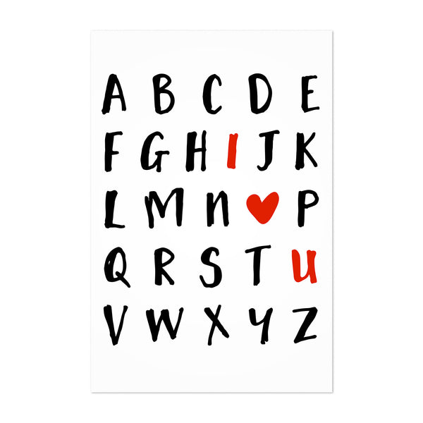 Love Alphabet Typography Art Print