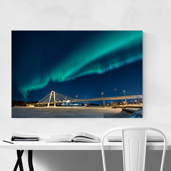 Northern Lights Sweden Bridge Art Print