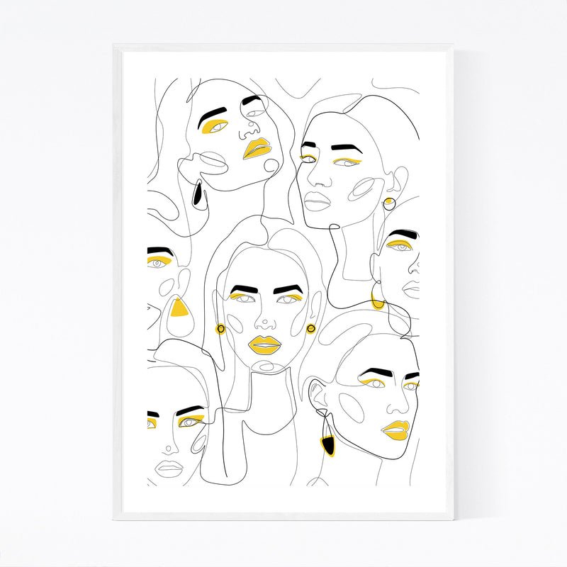 Fashion Feminist Line Drawing Framed Art Print