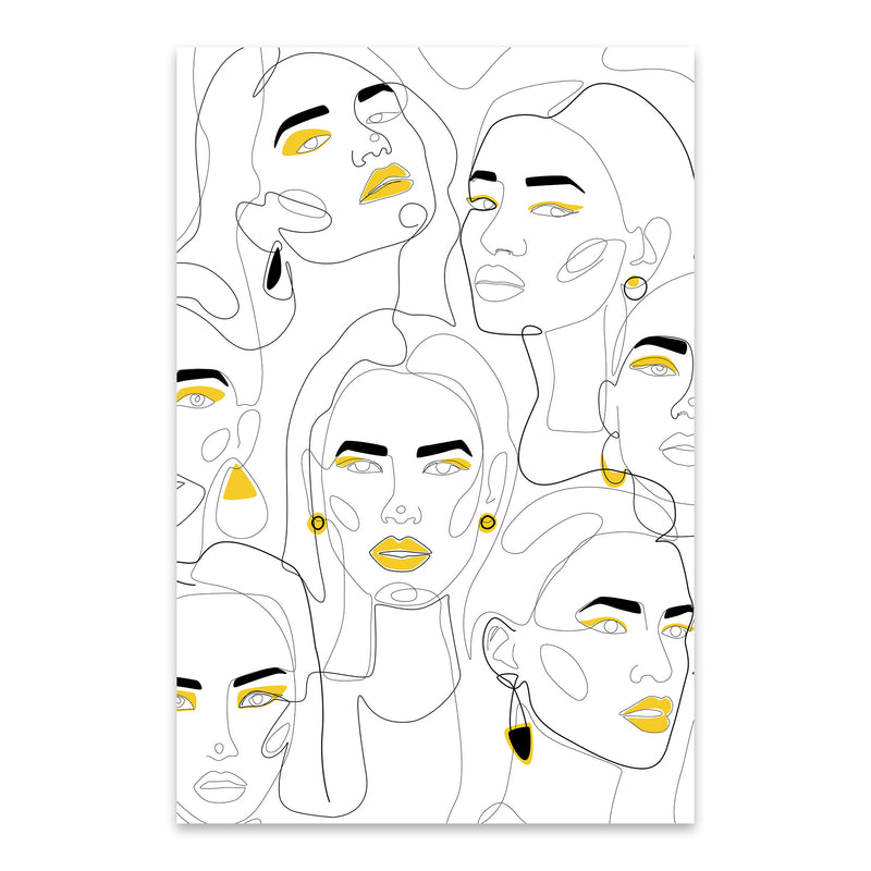 Fashion Feminist Line Drawing Metal Art Print