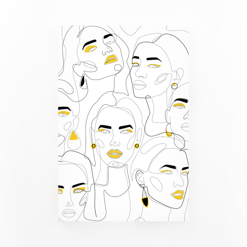 Fashion Feminist Line Drawing Canvas Art Print