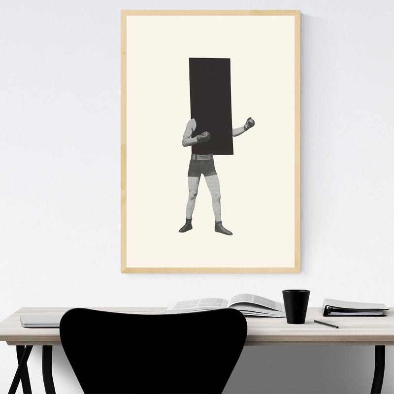 Minimal Geometric Boxing Collage Framed Art Print