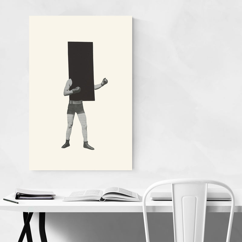 Minimal Geometric Boxing Collage Canvas Art Print