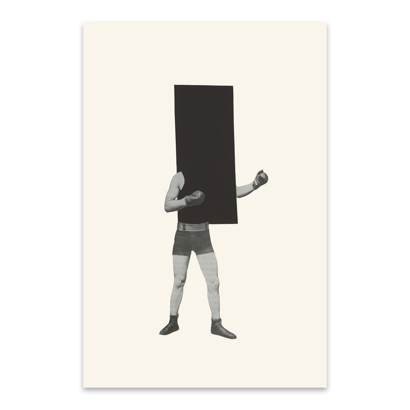 Minimal Geometric Boxing Collage Metal Art Print