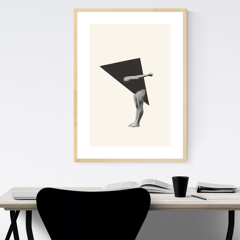 Triangle Geometric Woman Collage Framed Art Print