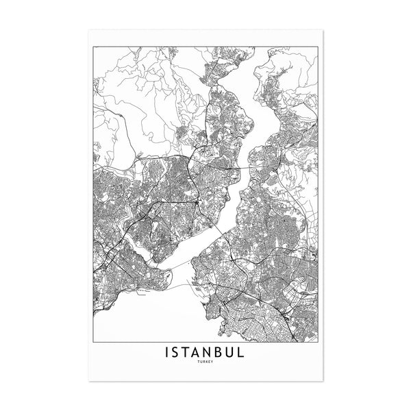Istanbul Black & White City Map Art Print