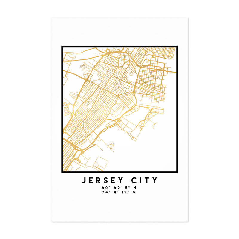 Minimal Jersey City City Map Art Print